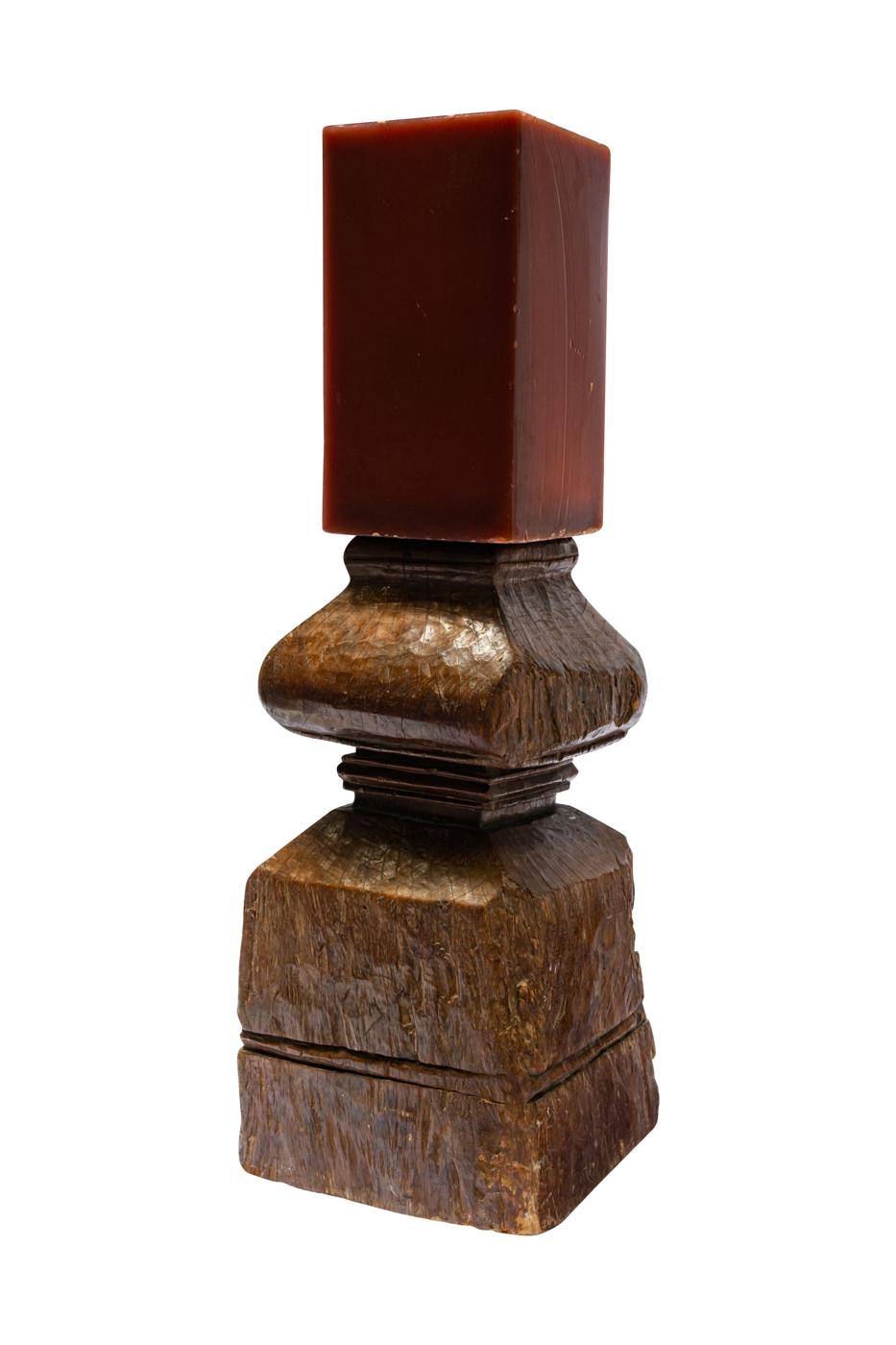 Portavela vintage en madera- café