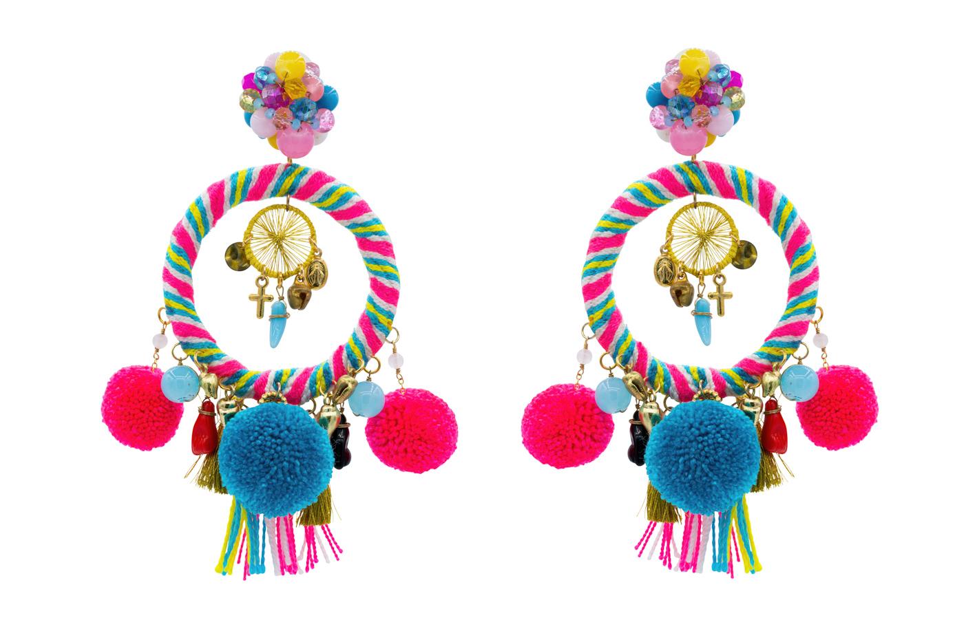 Arete Tradicional Wayuu-fucsia/azul