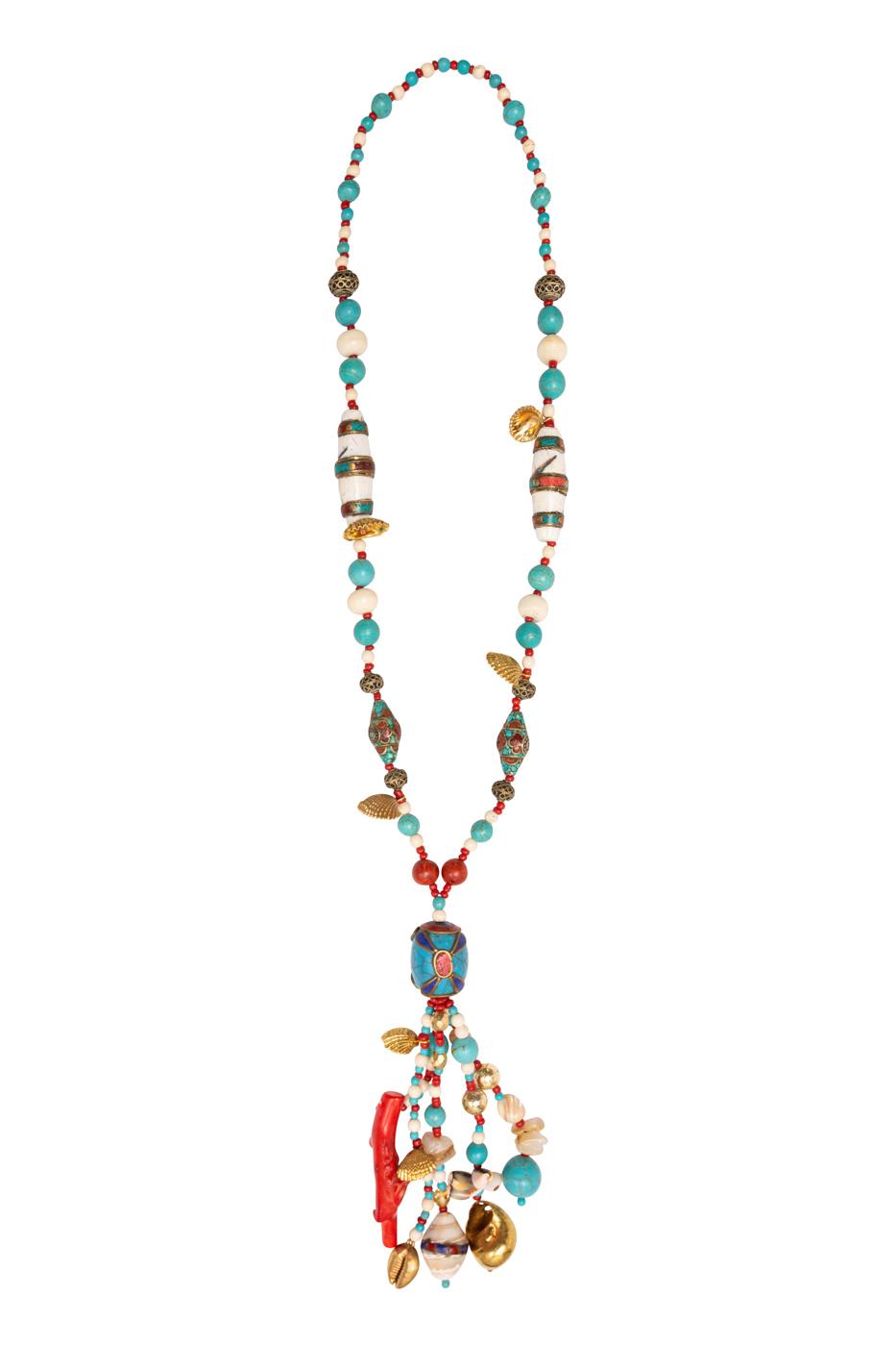 Collar turquesa,coral rojo y caracoles naturales