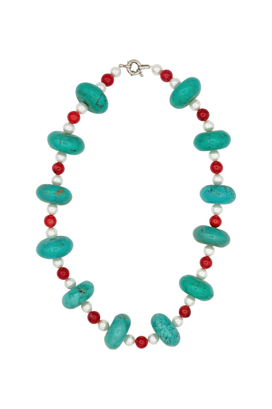 Collar turquesa, coral y perlas