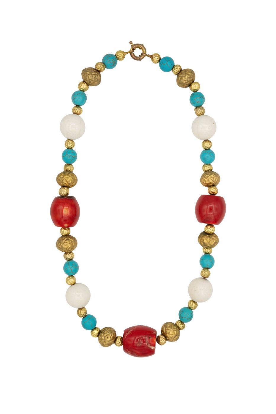 Collar turquesa y coral rojo-blanco