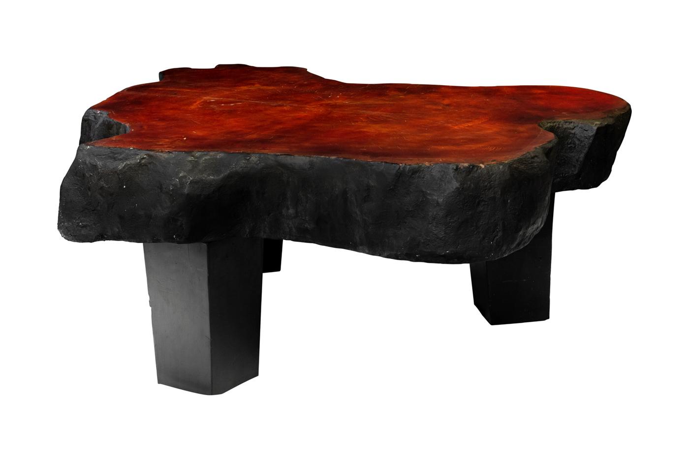 Mesa de centro en madera teka diseño picapiedra