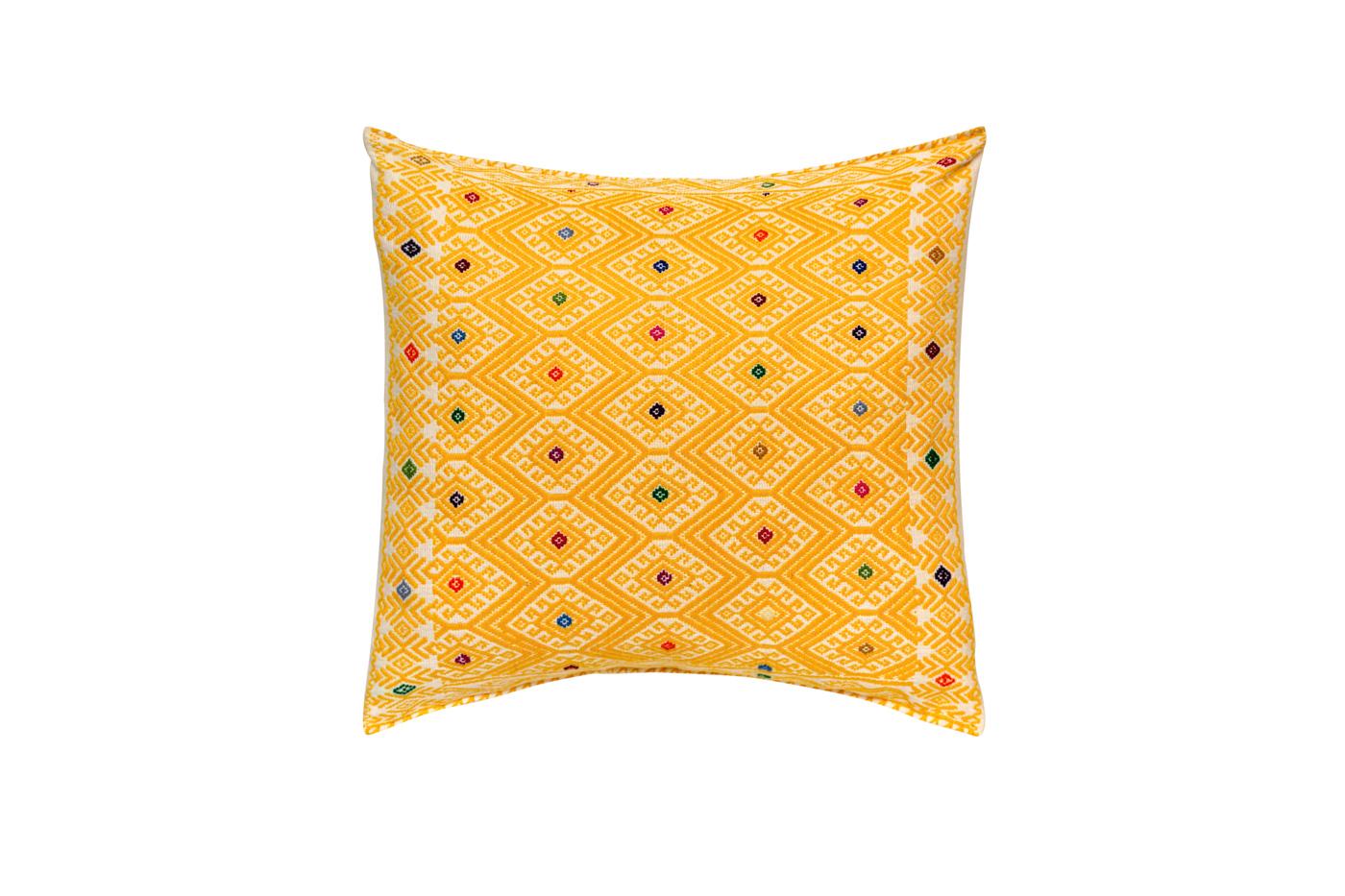 Cojín Mexicano en algodón con patrones geométricos-amarillo