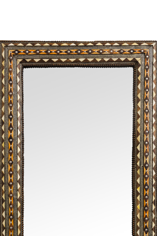 Espejo tradicional Marroquí diseño diamantes-café