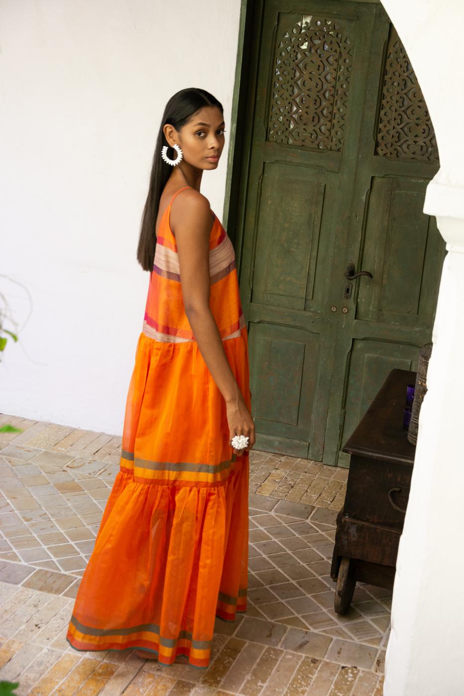 Maxi dress in silk - orange