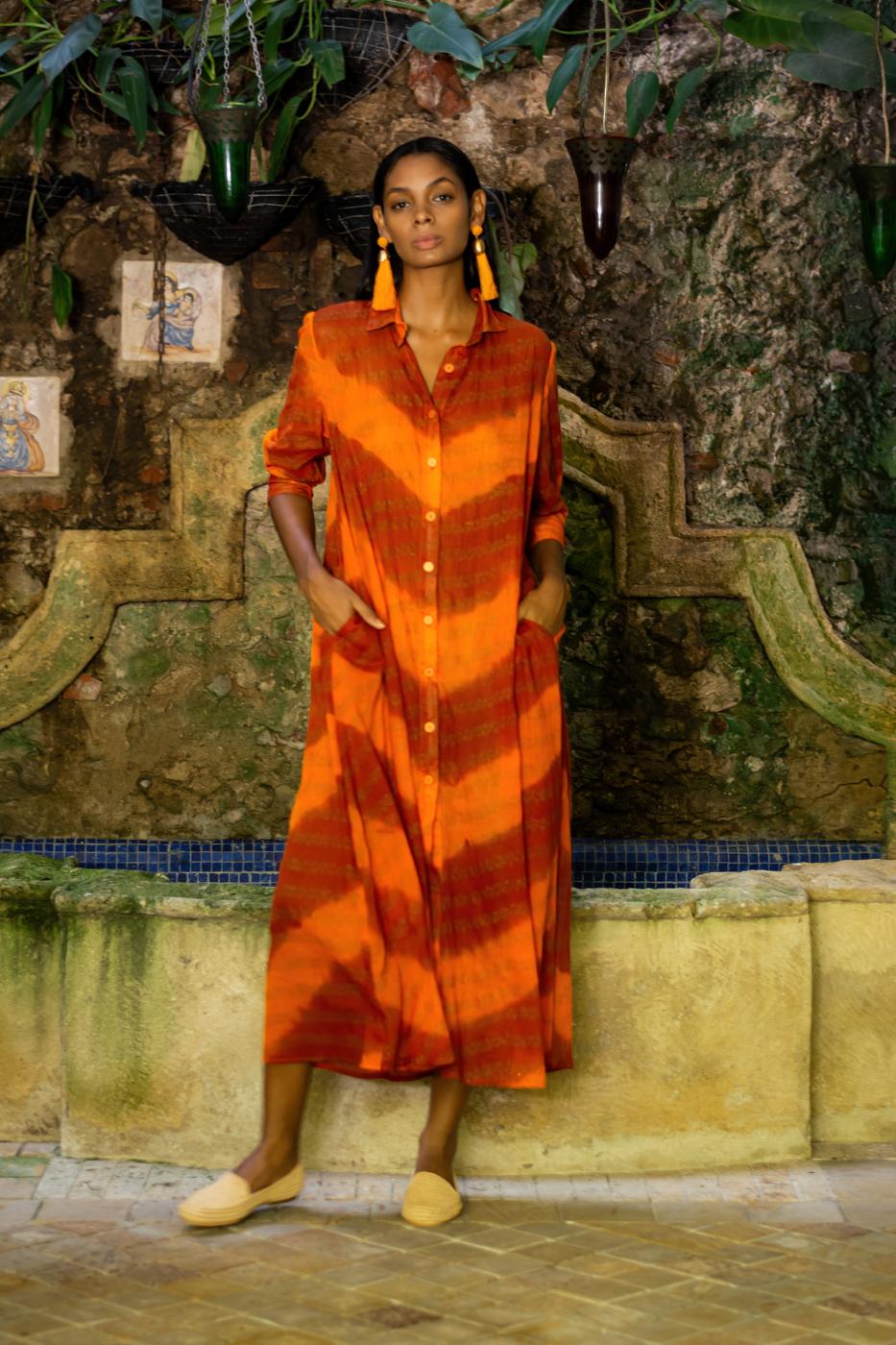 Midi dress in cotton