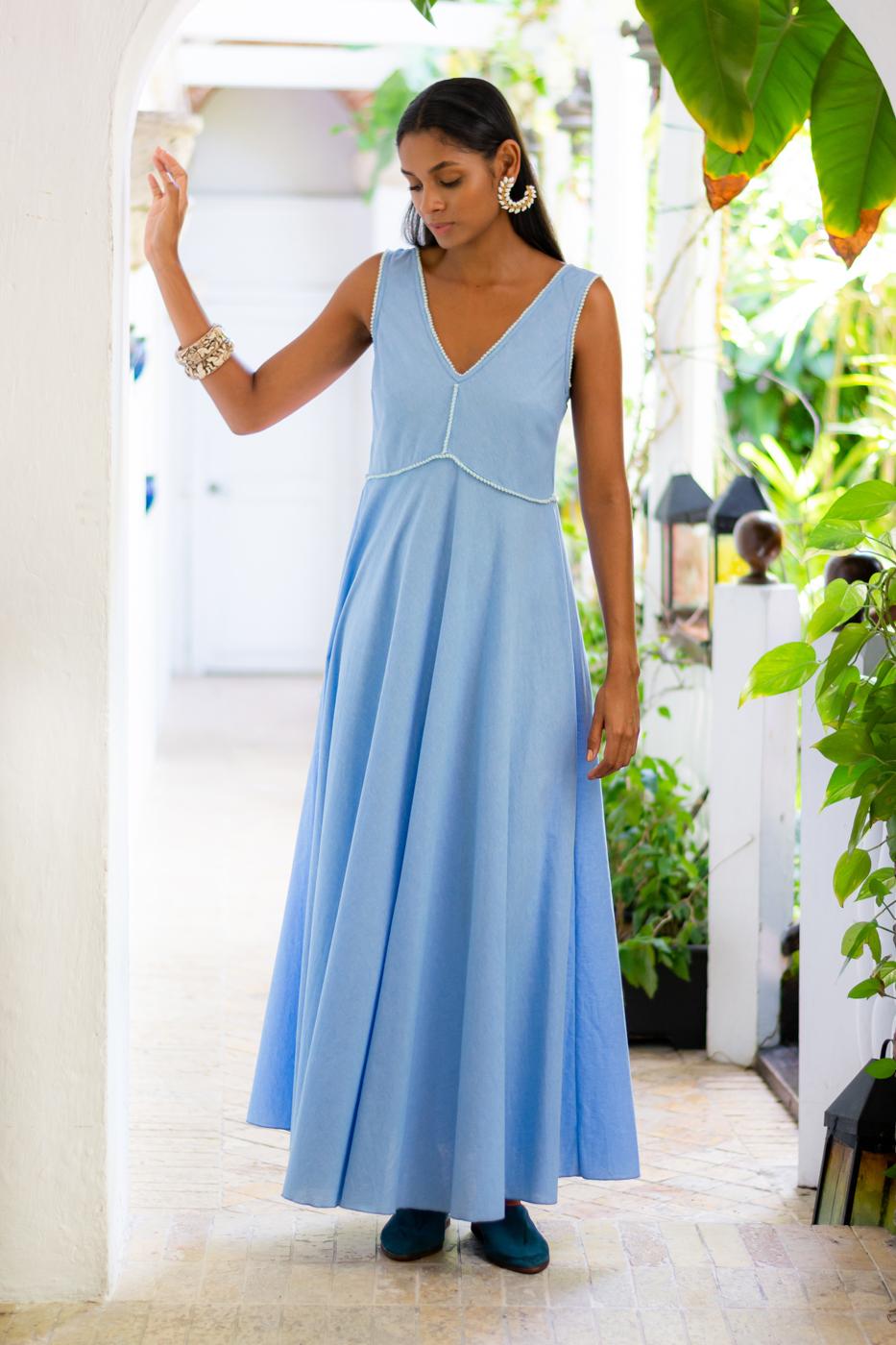 Maxi dress in cotton - blue