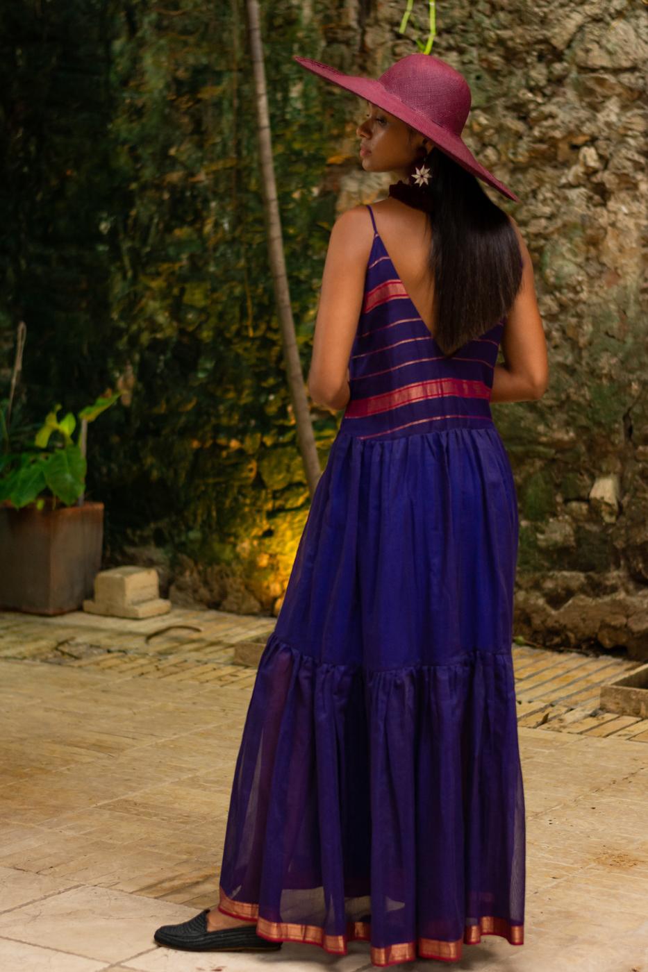 Purple silk maxi dress