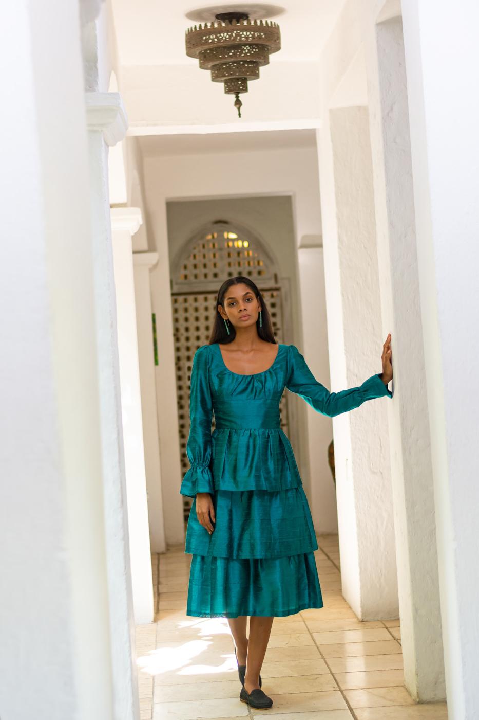 Green taffeta dress
