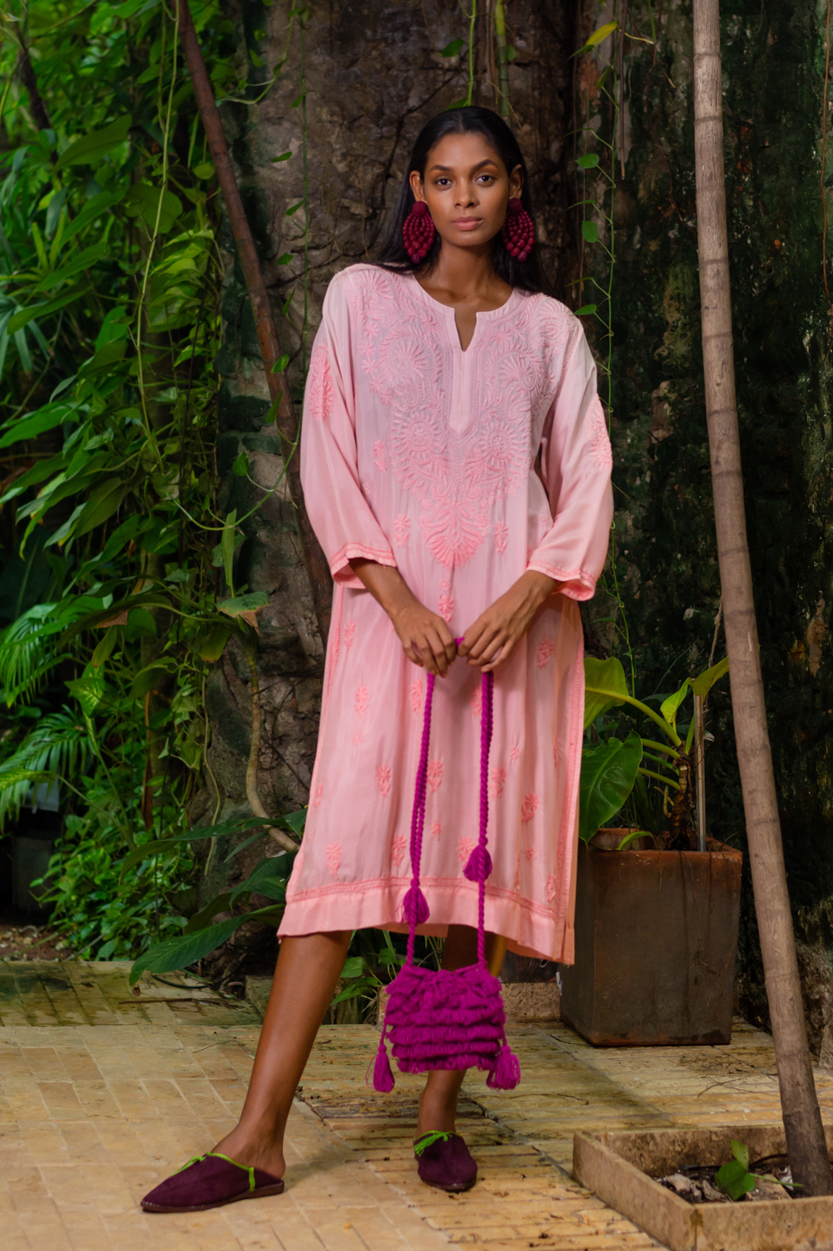 Kurta dress in traditional Indian pink cotton
