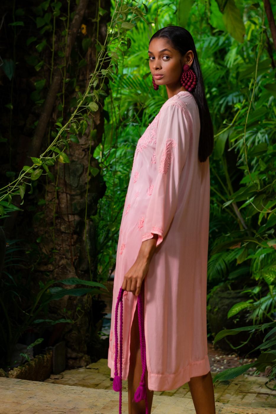 Vestido Kurta en algodón  tradicional de India-rosado