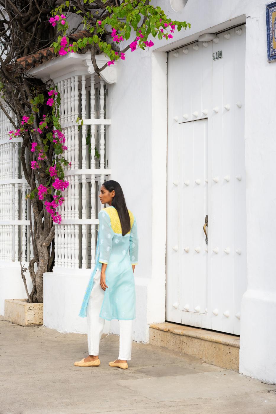 Traditional indian cotton kurta tunic - blue/yellow