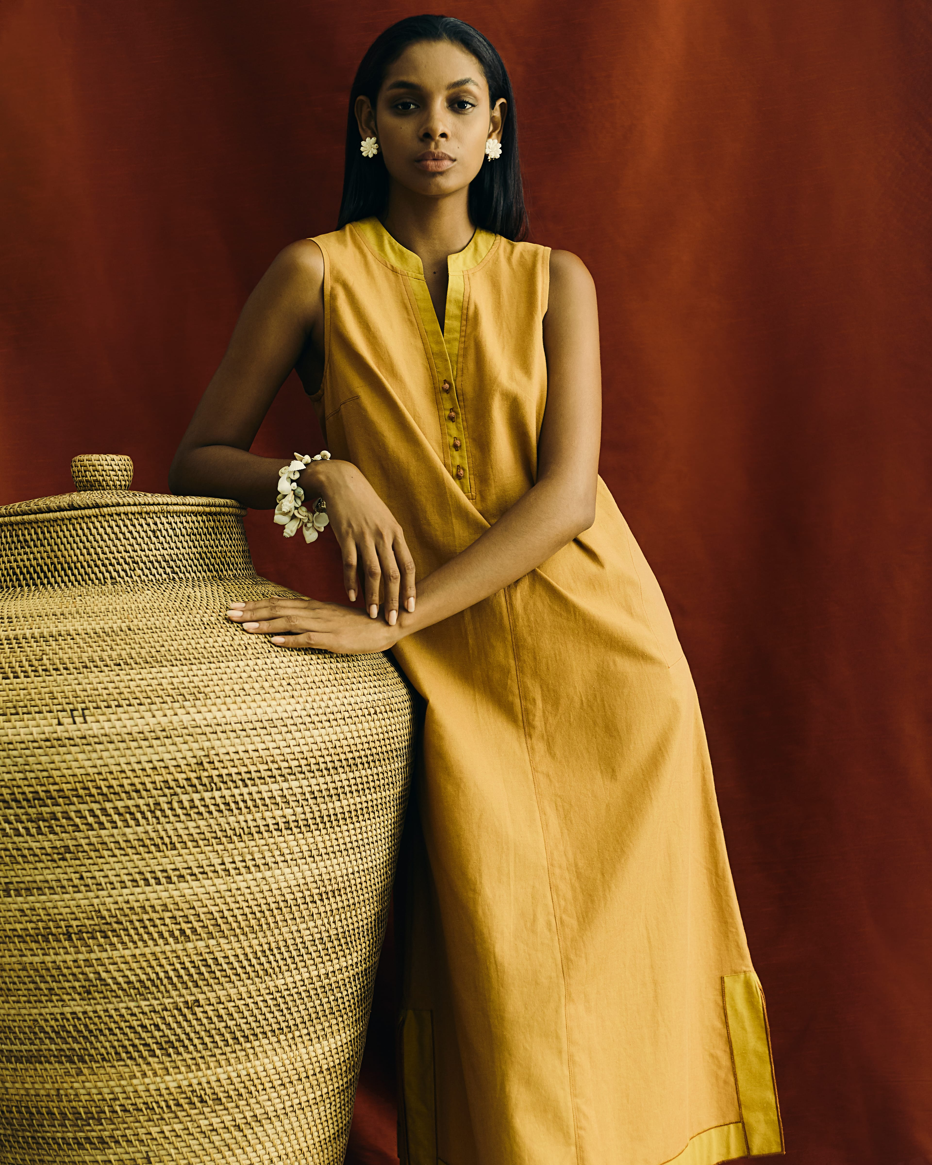 Egyptian cotton sleeveless dress