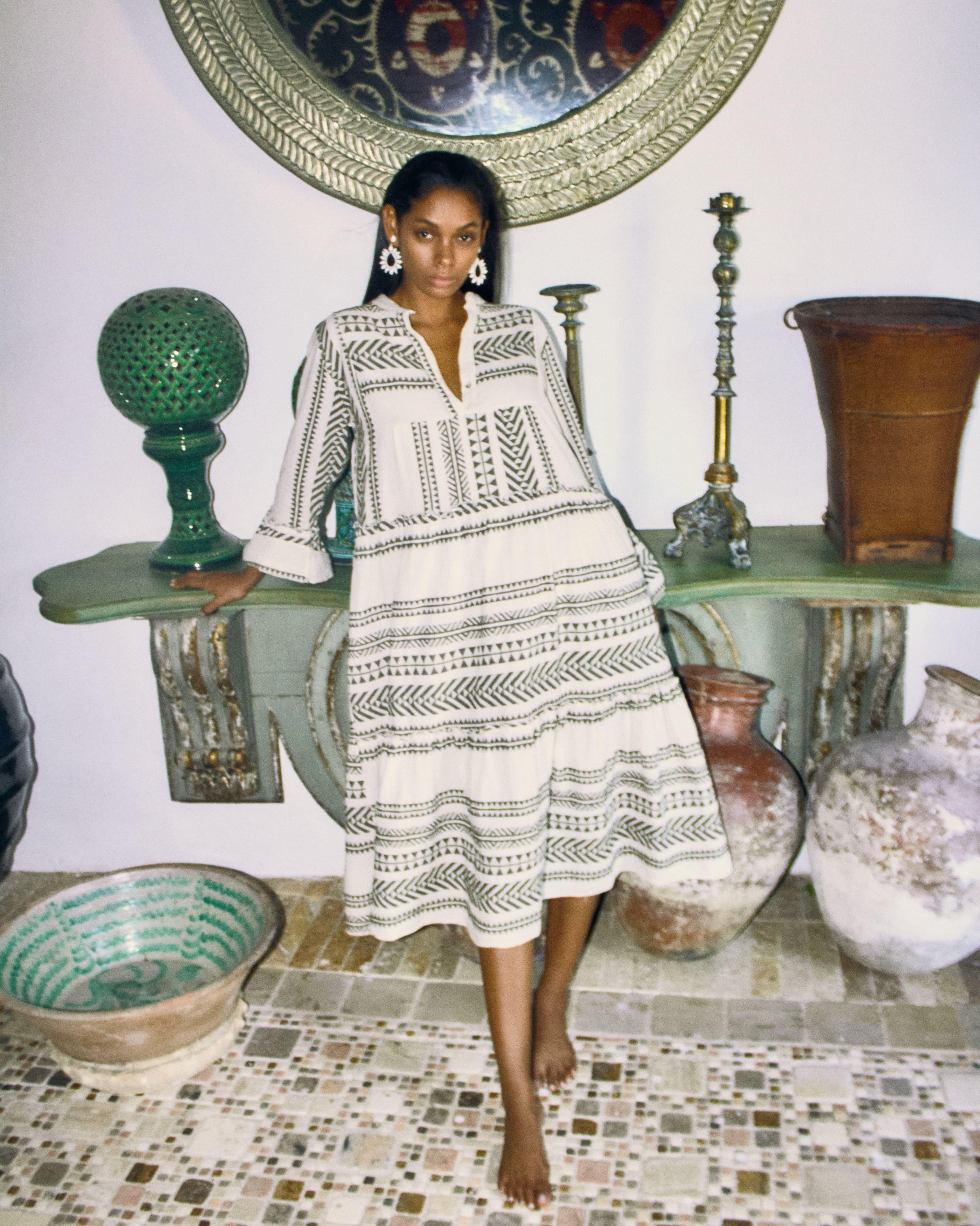 Printed dress in cotton -beige/grey
