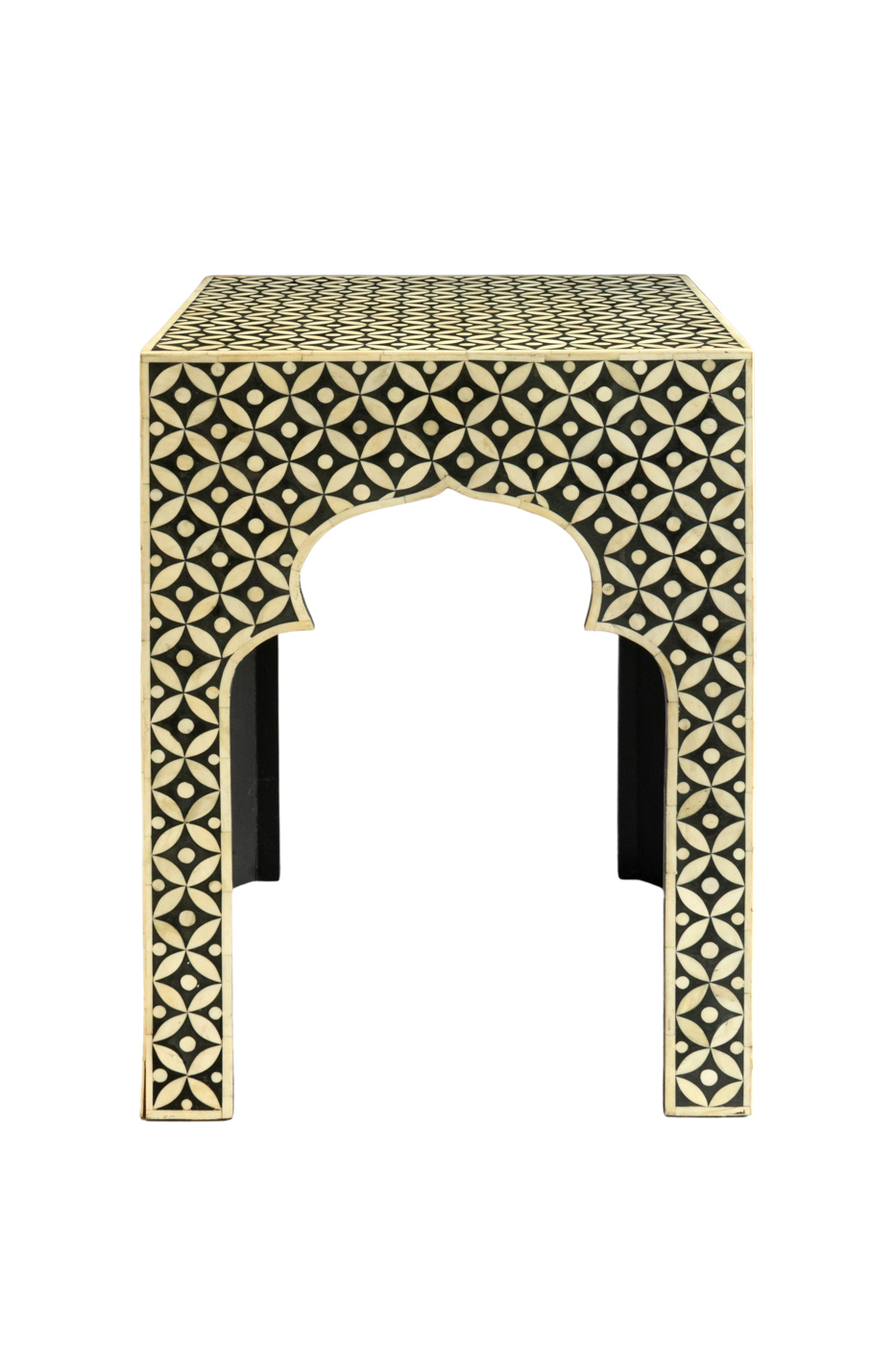 Alhambra side table design in wood and bone