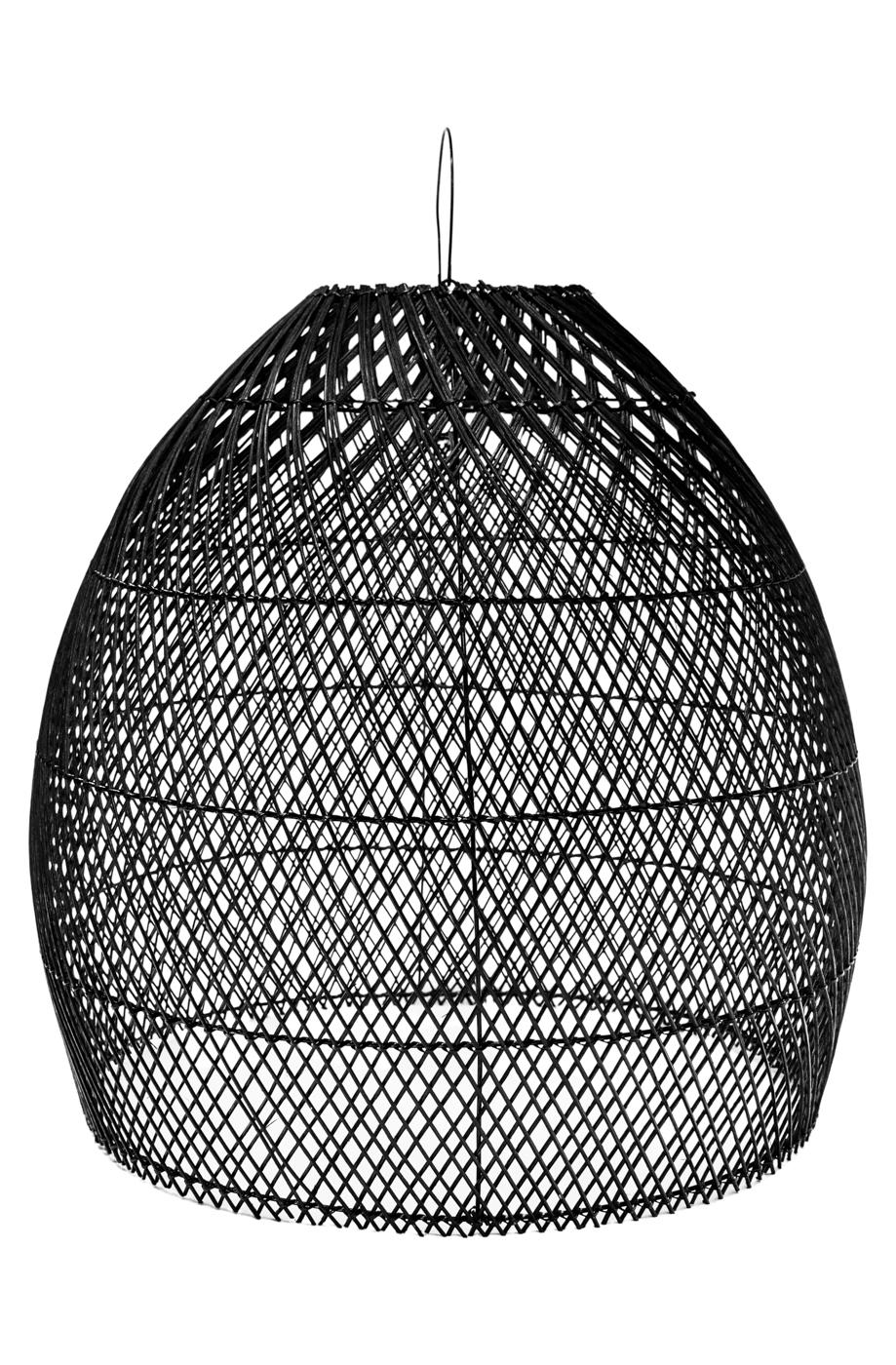 Lámpara colgante en rattan-negra