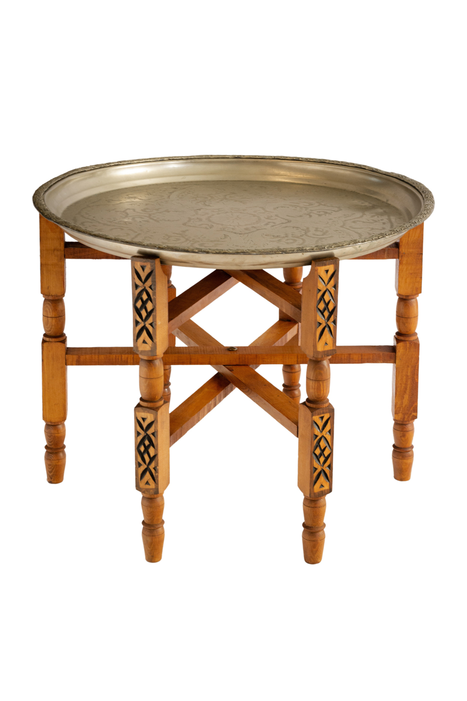 Foldable side table with metal tray carved with flower motifs