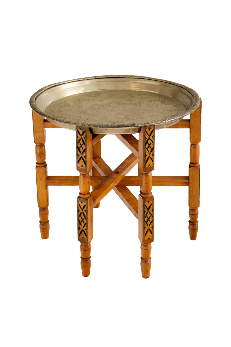 Folding side table with carved metal star-shaped tray Rub