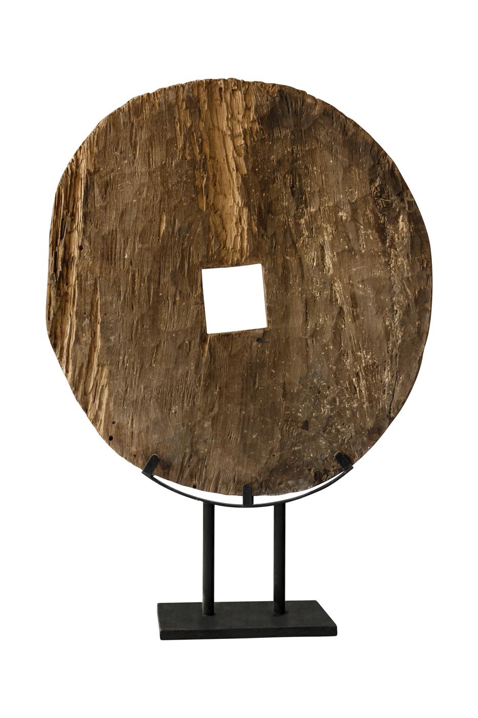 Rueda decorativa en madera sobre base de metal-Café claro