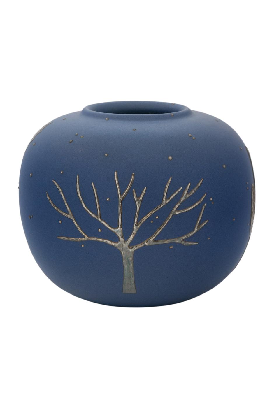 Jarrón decorativo en ceramica y plata-azul