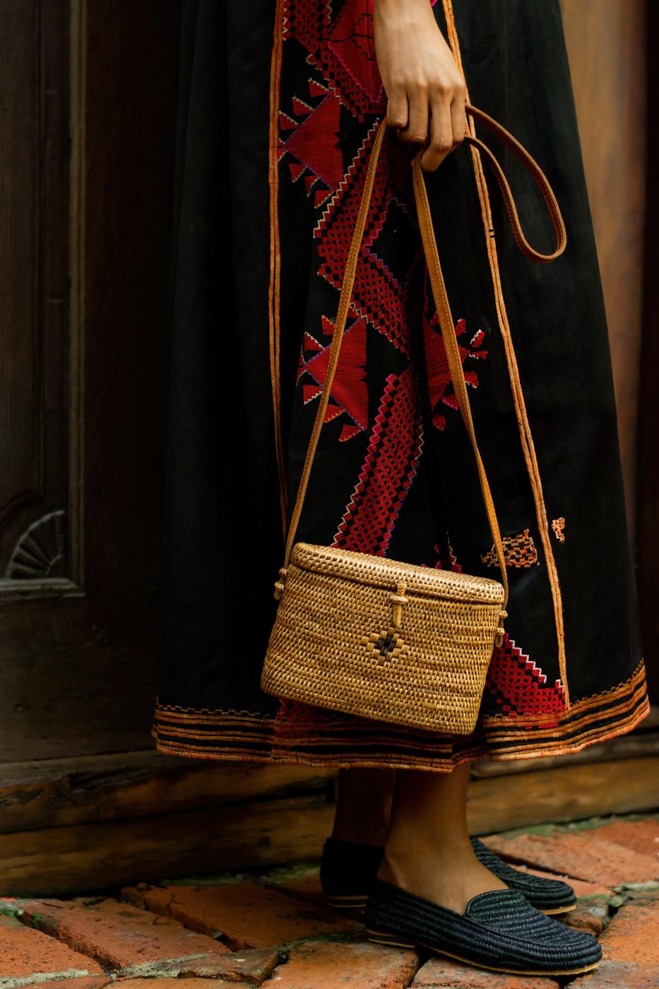 Zapatos Marroquí Raffia Negros