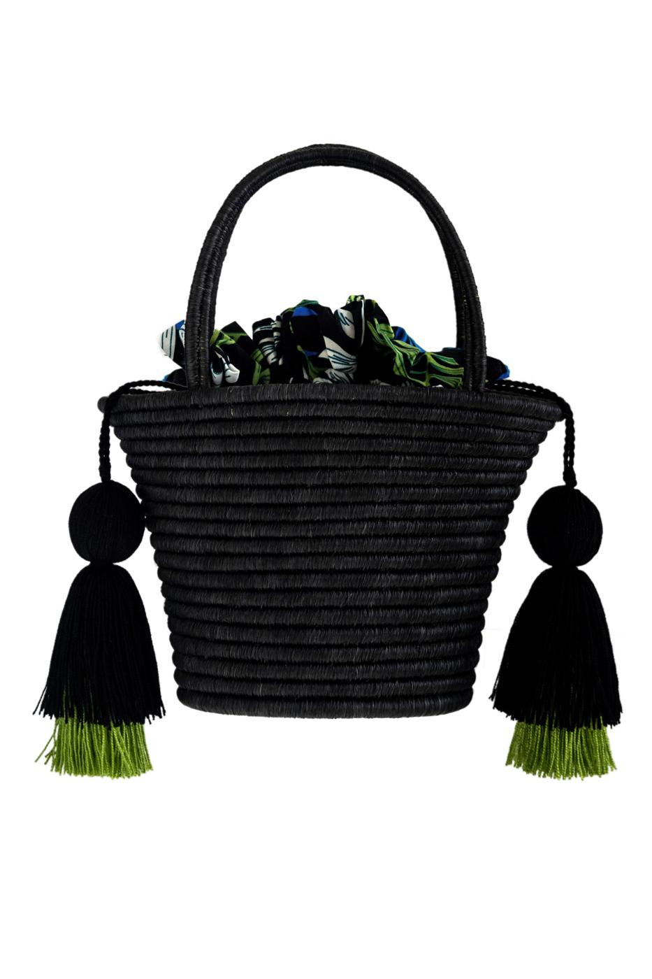 Bolsito Guacamayas- Negro con pompones verde oliva, negro