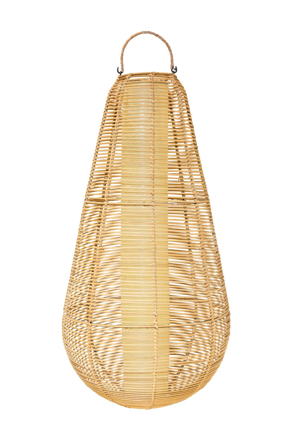 Lámpara colgante en rattan estilo pera