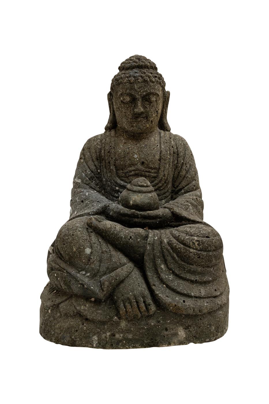 Escultura de buda tallada en piedra verde