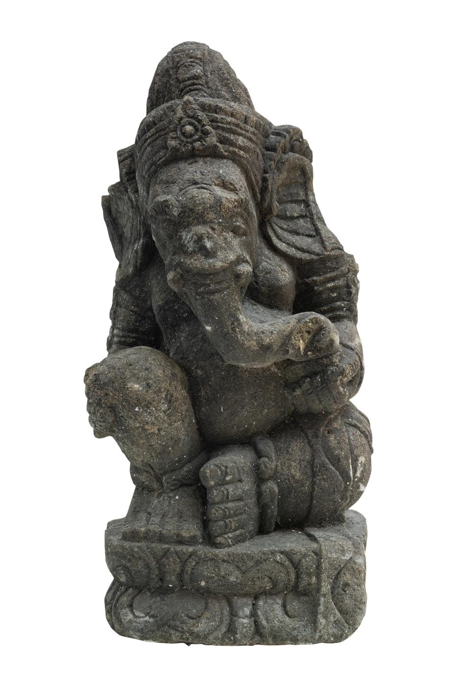 Escultura de Ganesh tallada en piedra verde
