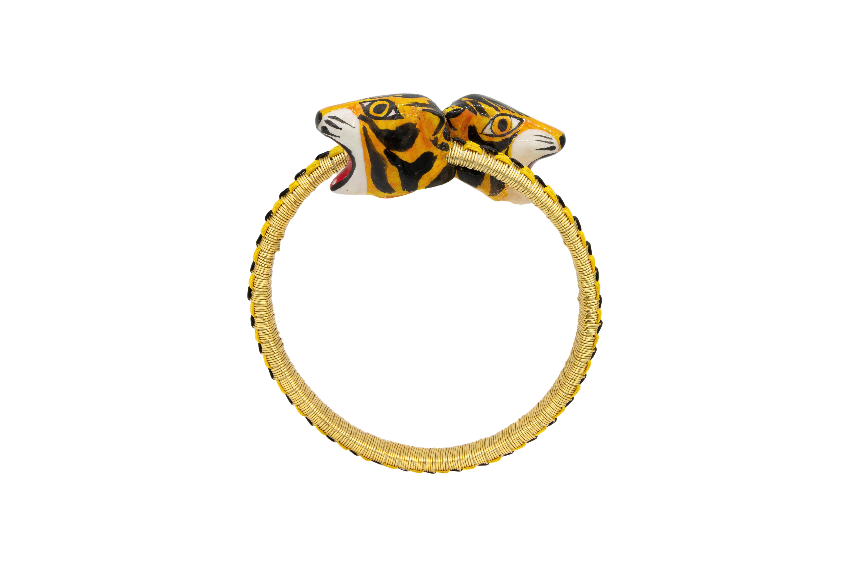 Brazalete Garabato werregue dorado diseño tigre