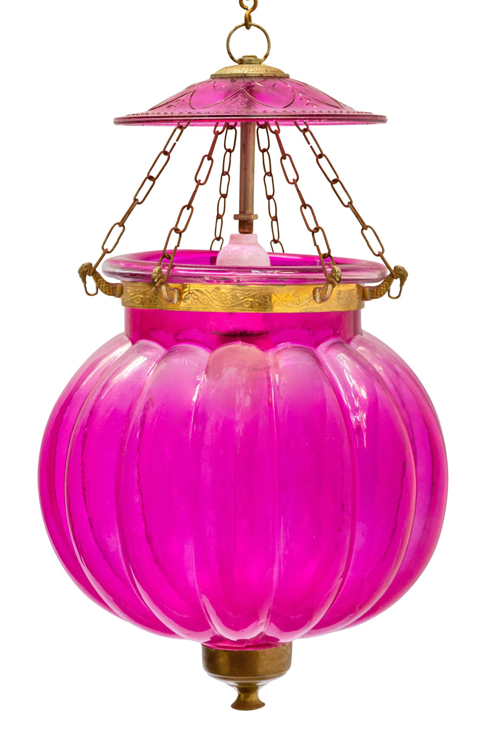 Lámpara Hundi de vidrio fucsia