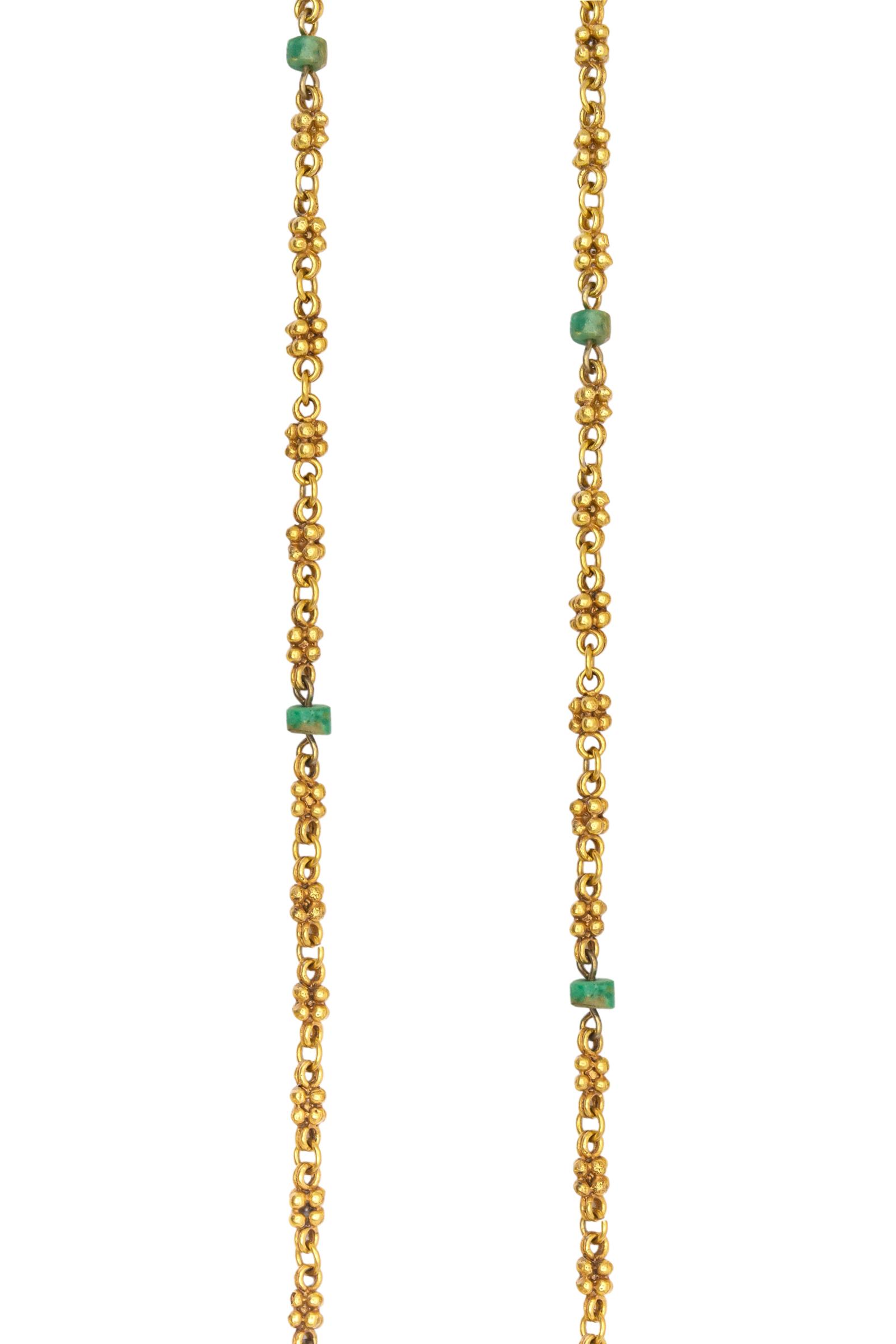 Cadena dorada tejida con murraya-esmeralda