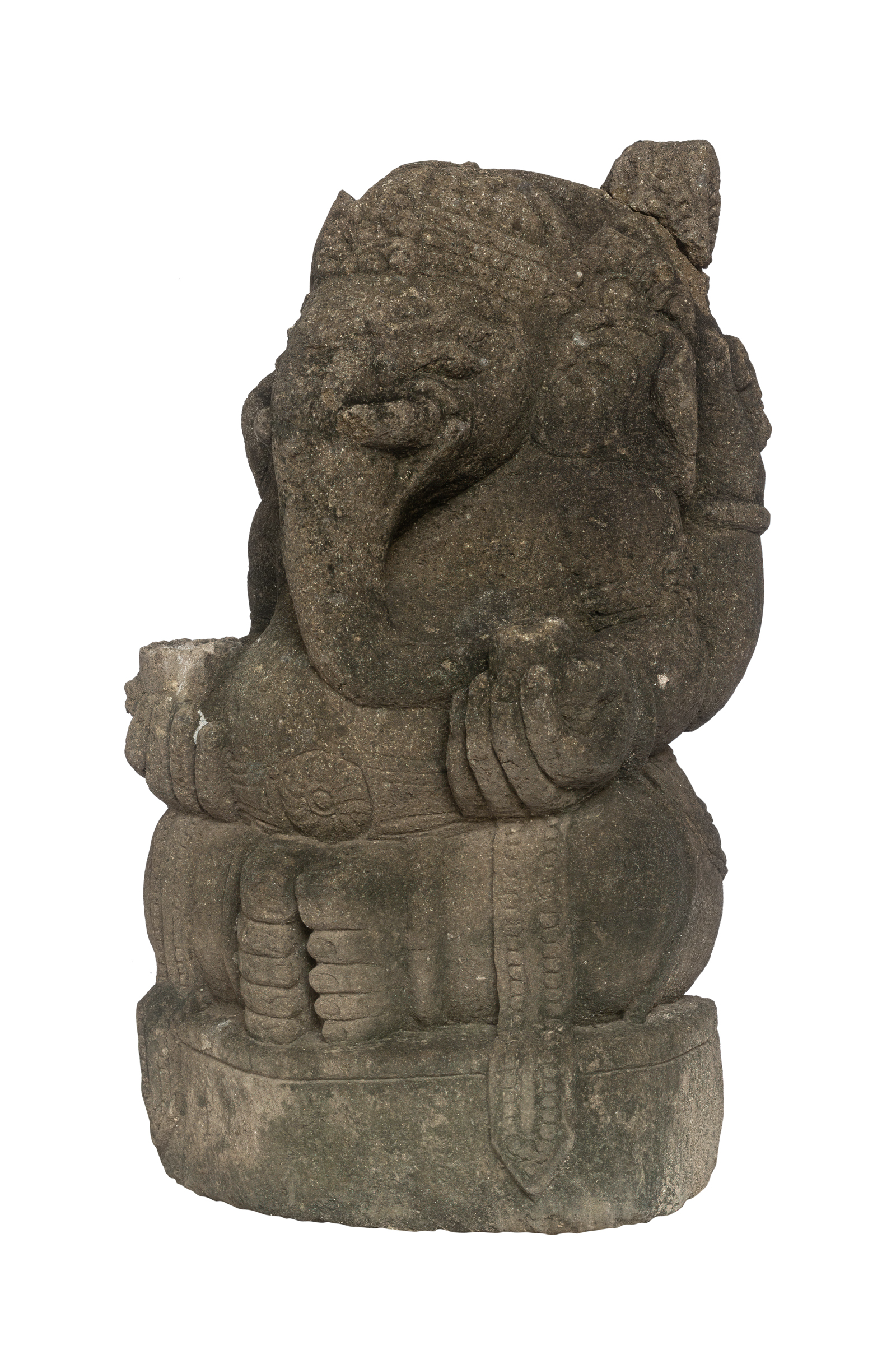 Ganesh tallado en piedra verde-48 Cm H