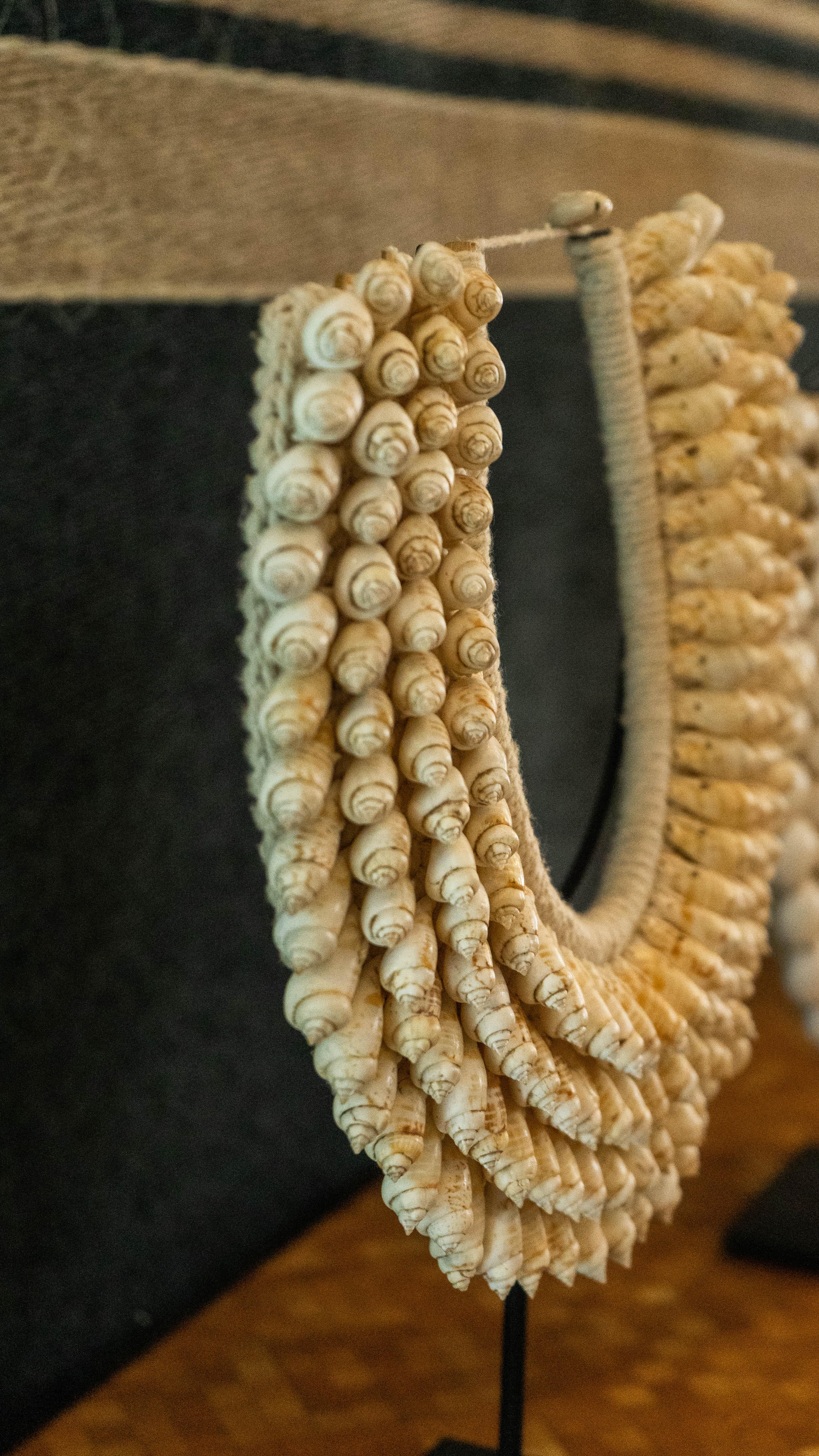 Collar decorativo de caracoles naturales