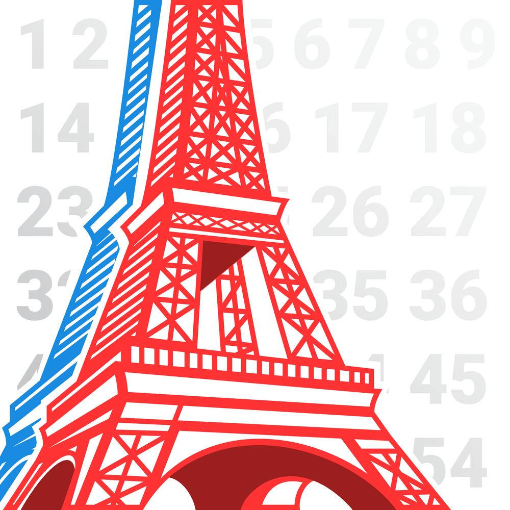 La torre Eiffel con diferentes números de fondo