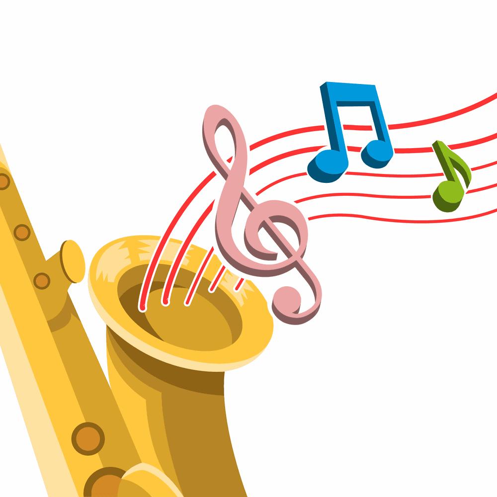 Un saxofón del cual sale un pentagrama y sus notas musicales