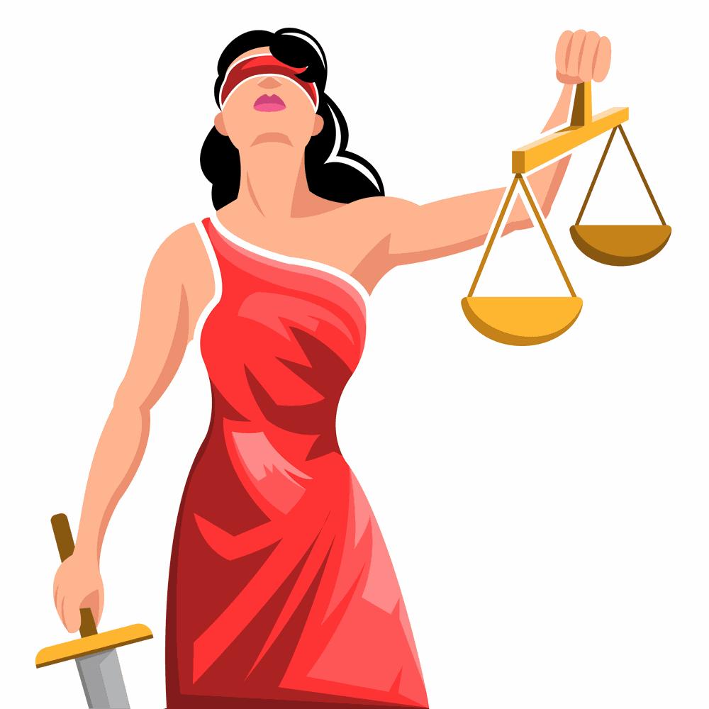 Mujer levantando una balanza haciendo referencia al derecho