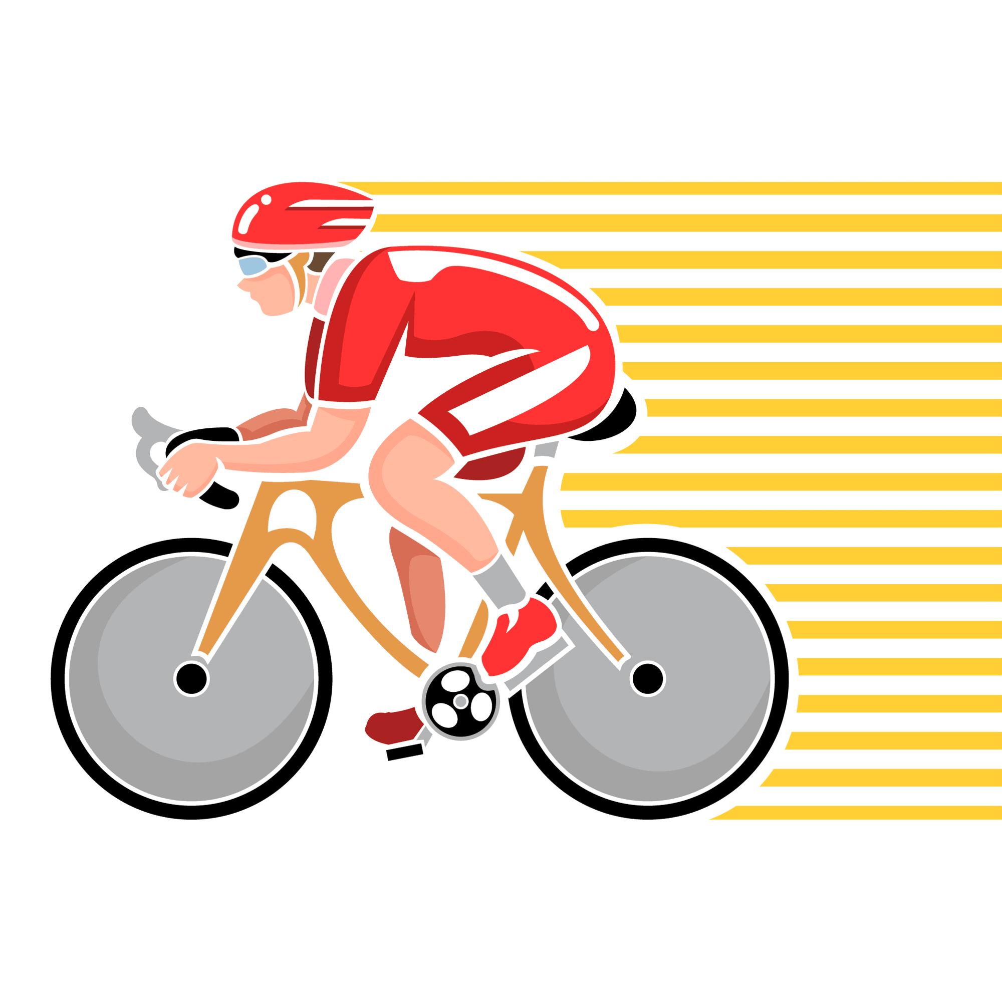 Un ciclista pedaleando dejando un rastro detrás de el