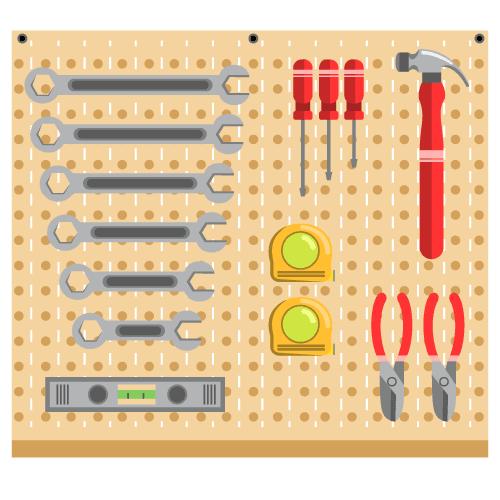 Un tablero de herramientas después de una implementación de las 5S