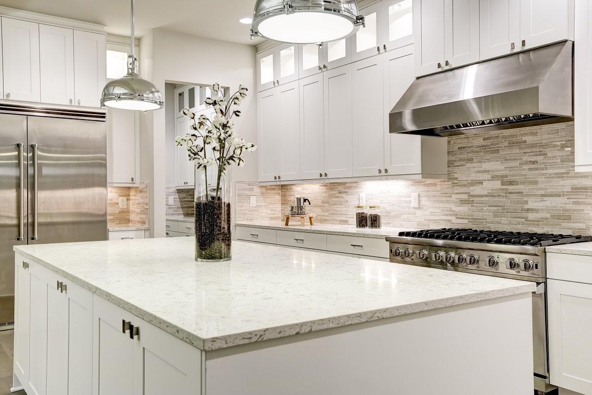 polished quartz kitchen countertop