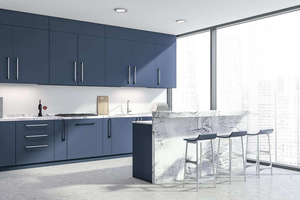 Denim Blue Top Kitchen Cabinets Colors