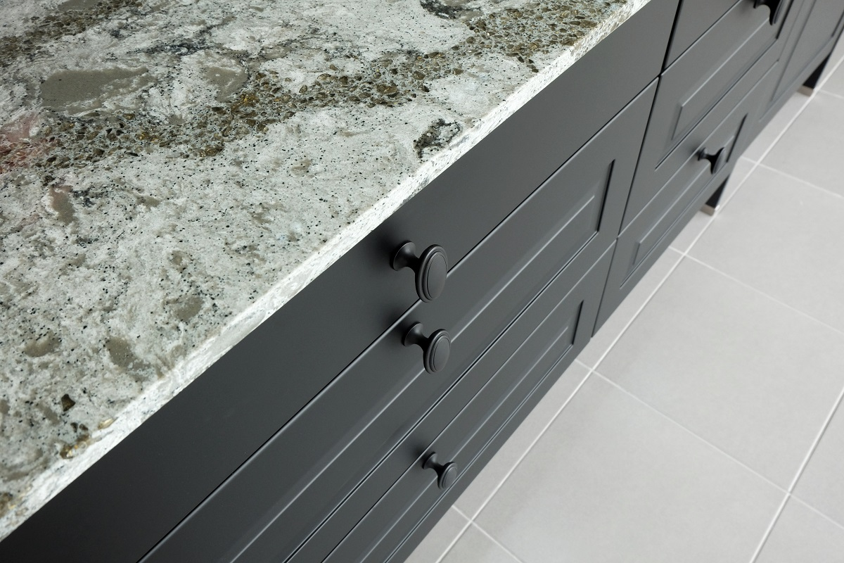 Dark Cabinets with Gray Countertops
