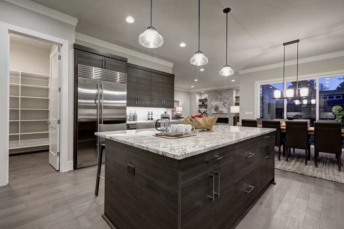 Dark Kitchen Cabinets with White Countertops
