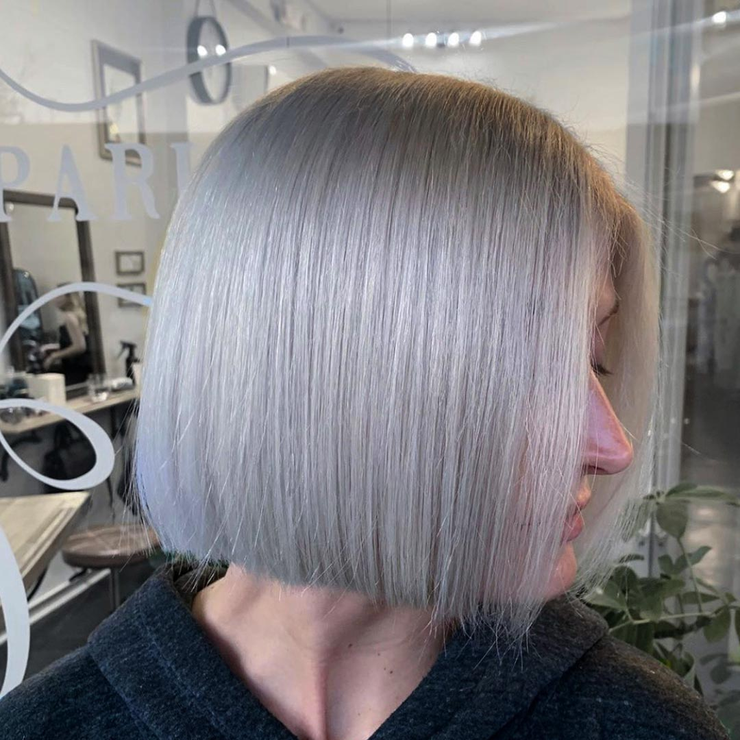 Platinum color and hair cut by Andrew Smith