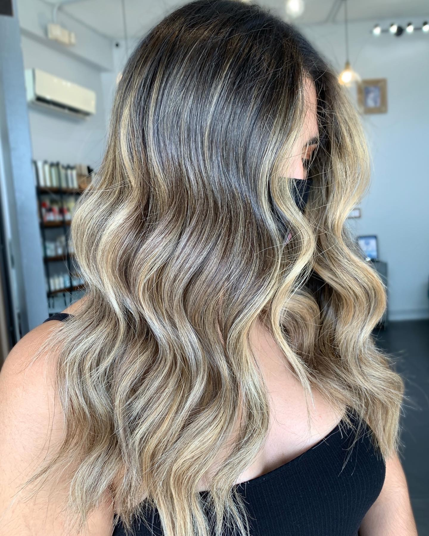 Natural balayage on this dark hair. So pretty. Colro by Andrew Smith