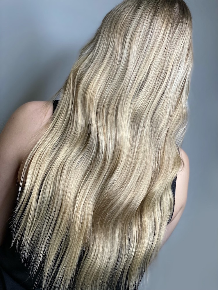Tedious details went into this blonde. Time and care is essential. Hair by Nichole Khalil.