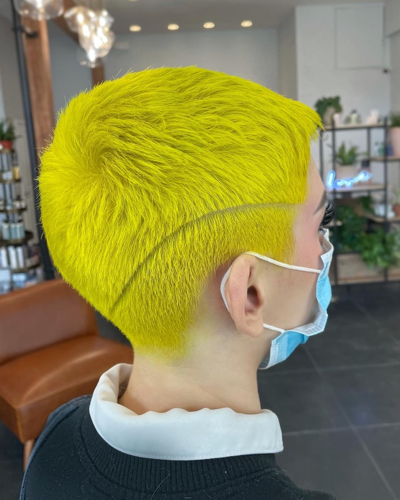 """She said, """"make me look like a tennis ball"""" and so he did. Color and hair cut by Andrew Smith."""