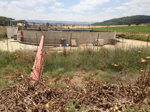 In Israel, a red pipeline means the water is unsafe to drink. Here a pipeline carries locally treated sewage to a holding pond, where it will be pumped out for irrigation.