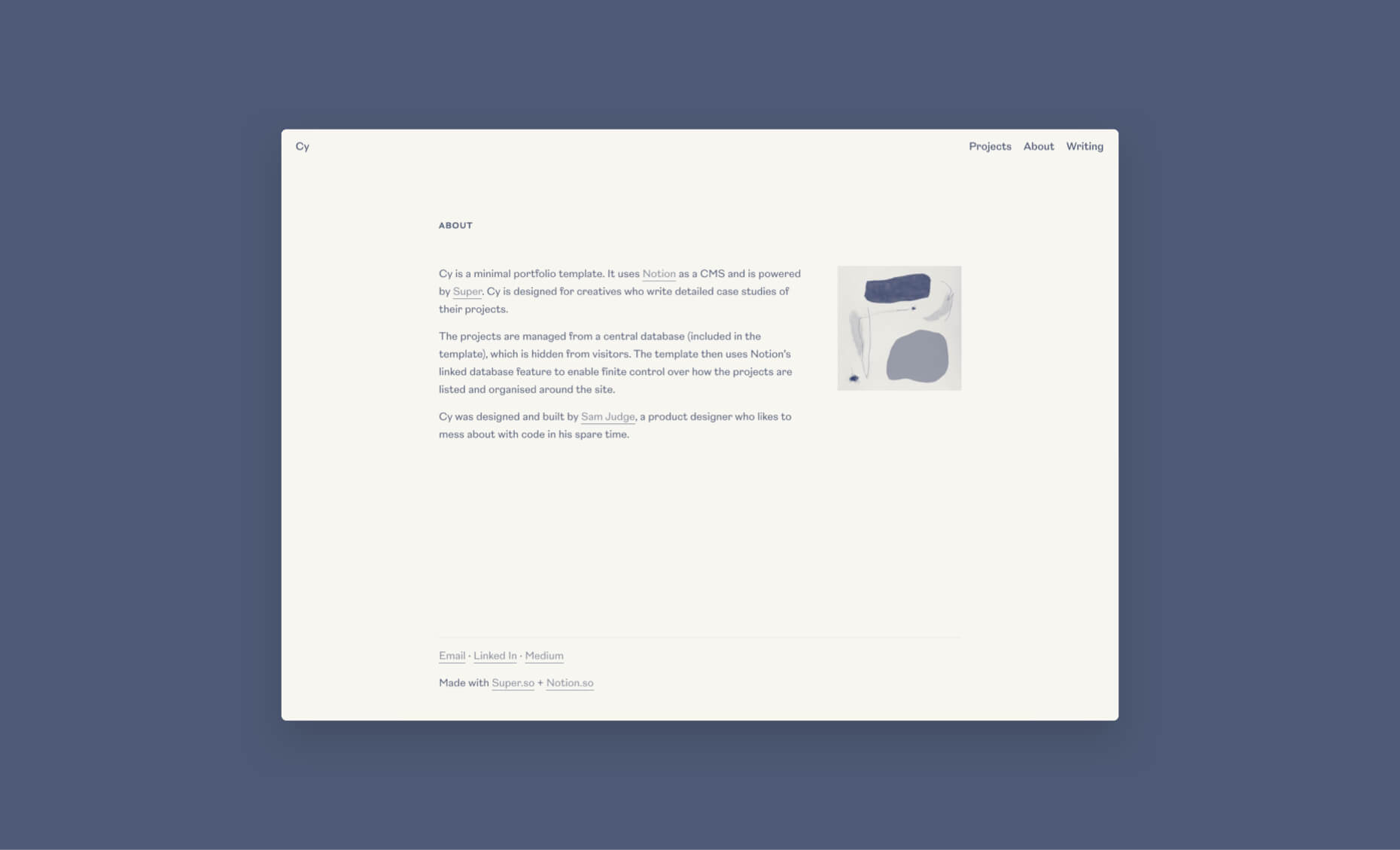 Cy: portfolio template for Notion and Super