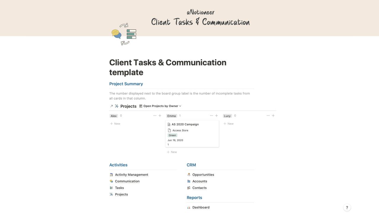 Client Tasks & Communication Manager